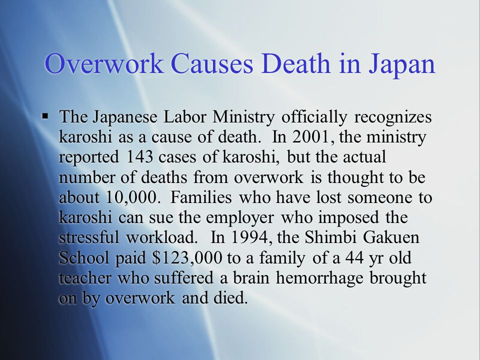 Overwork Causes Death in Japan