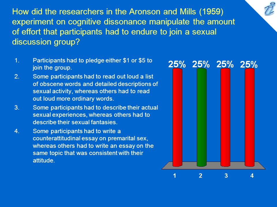 How did the researchers in the Aronson and Mills (1959) experiment on cognitive dissonance manipulate the amount of effort that participants had to endure to join a sexual discussion group