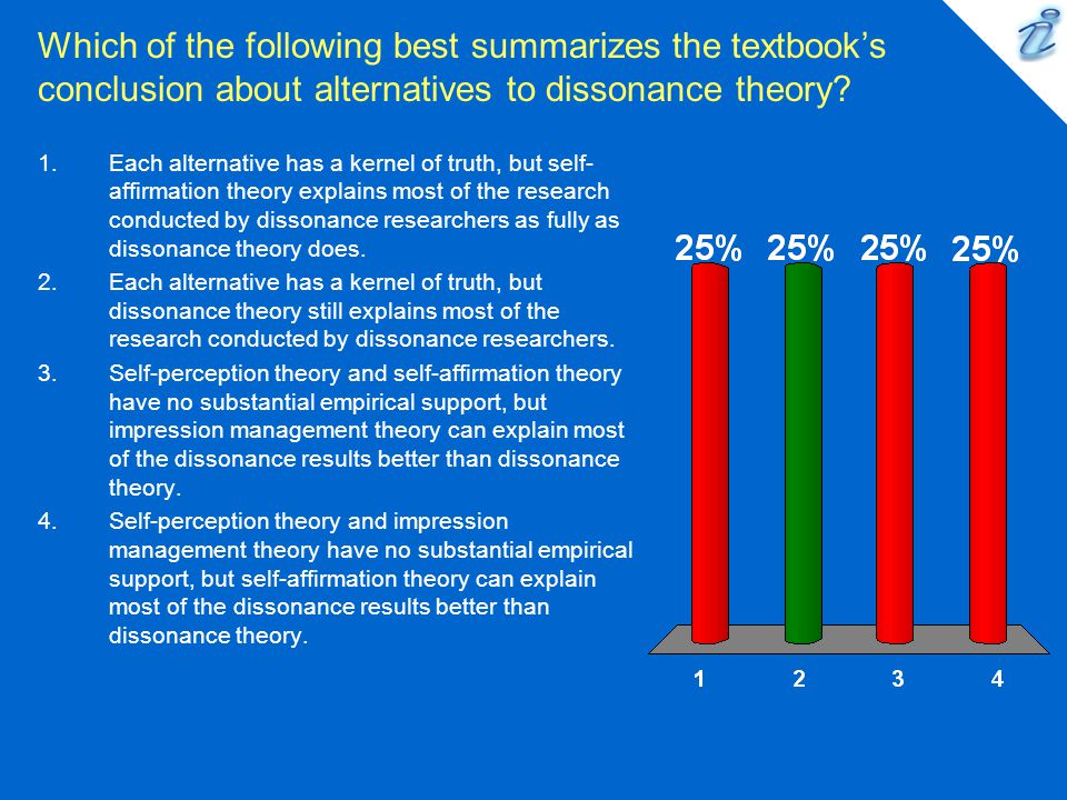 Which of the following best summarizes the textbook's conclusion about alternatives to dissonance theory