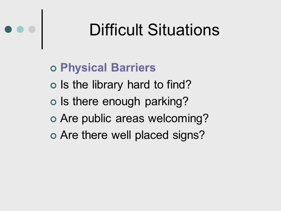 Difficult Situations Physical Barriers Is the library hard to find