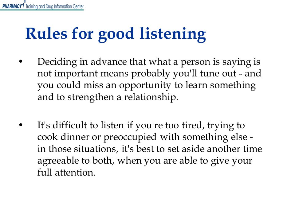 Rules for good listening