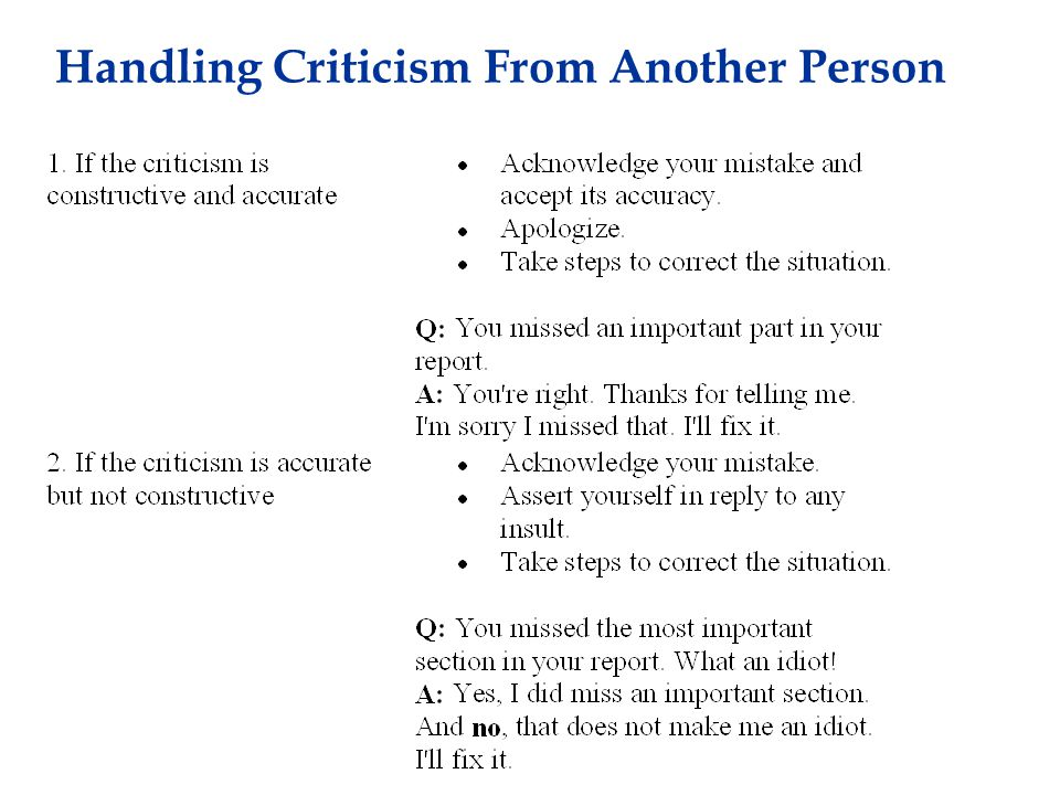 Handling Criticism From Another Person