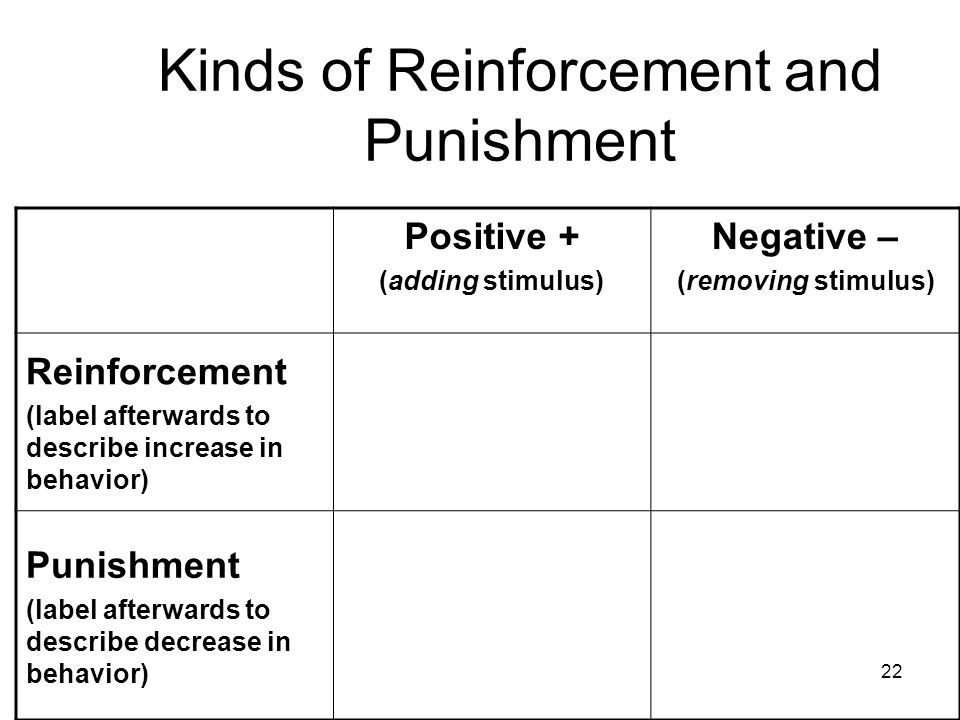 Kinds of Reinforcement and Punishment