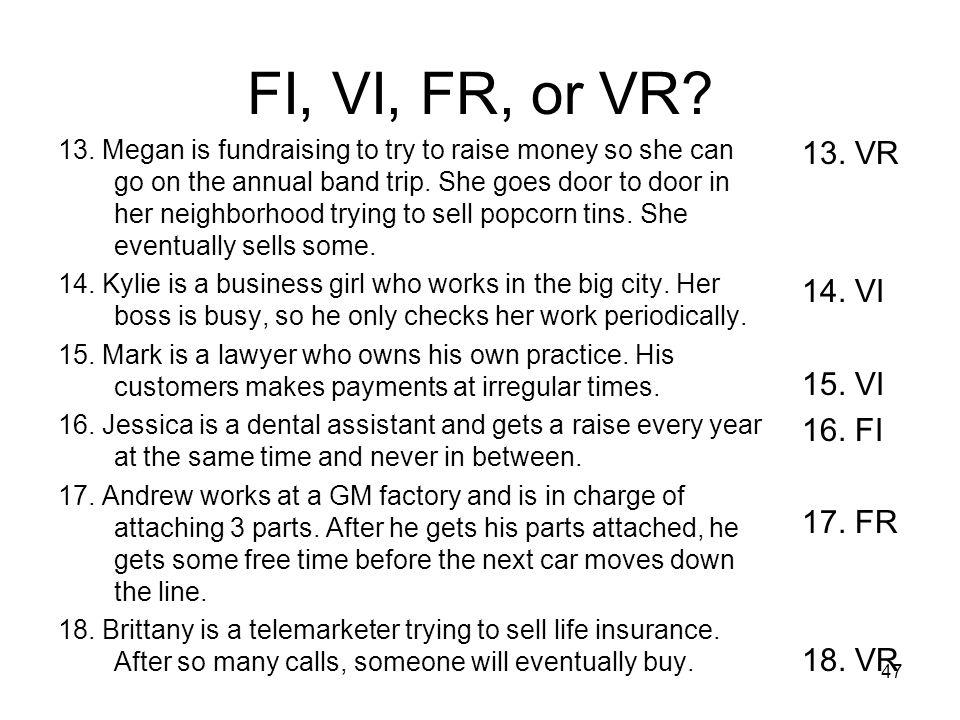 FI, VI, FR, or VR 13. VR 14. VI 15. VI 16. FI 17. FR 18. VR