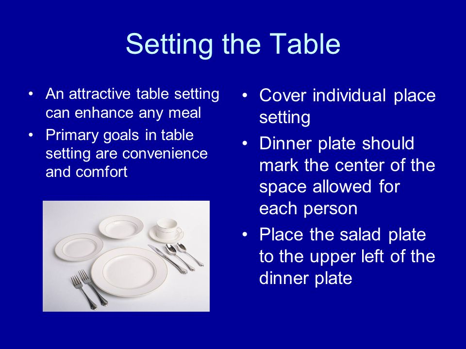 Setting the Table Cover individual place setting