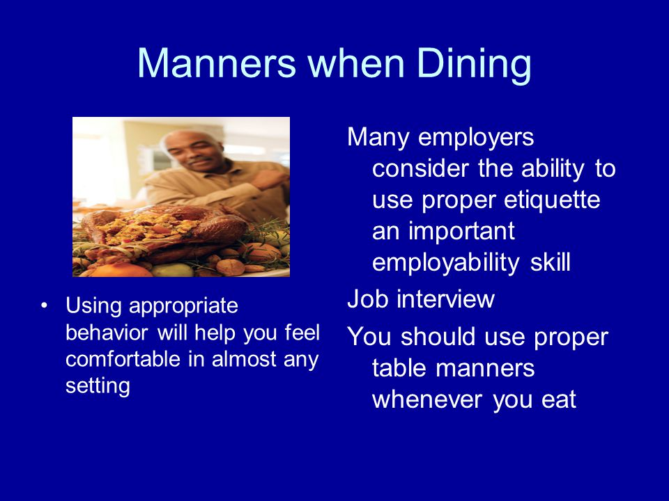 Manners when Dining