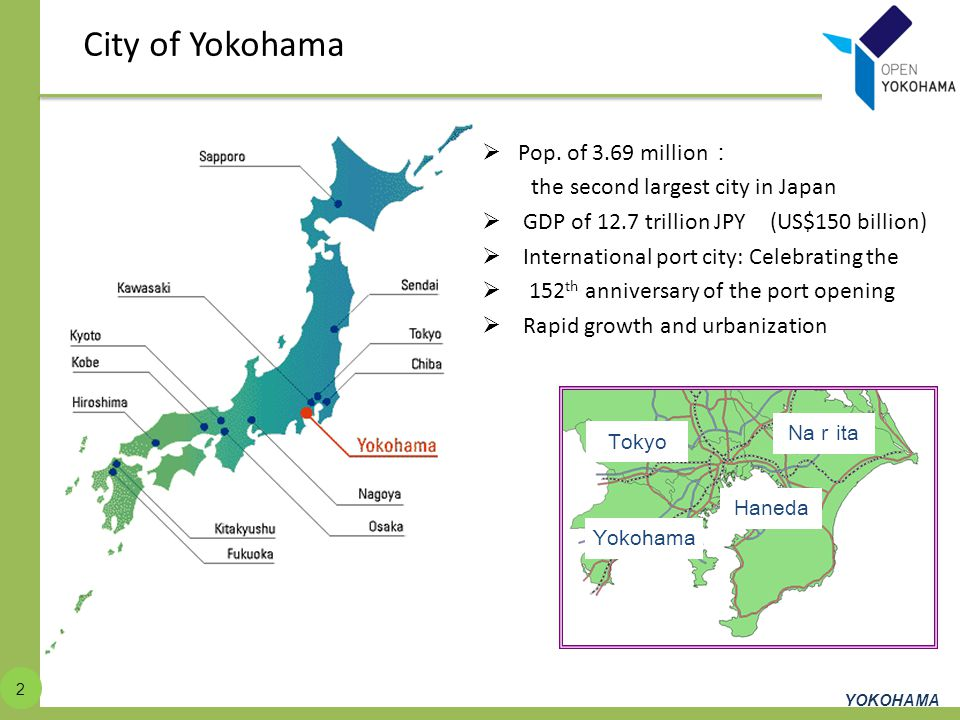 City of Yokohama Pop. of 3.69 million:
