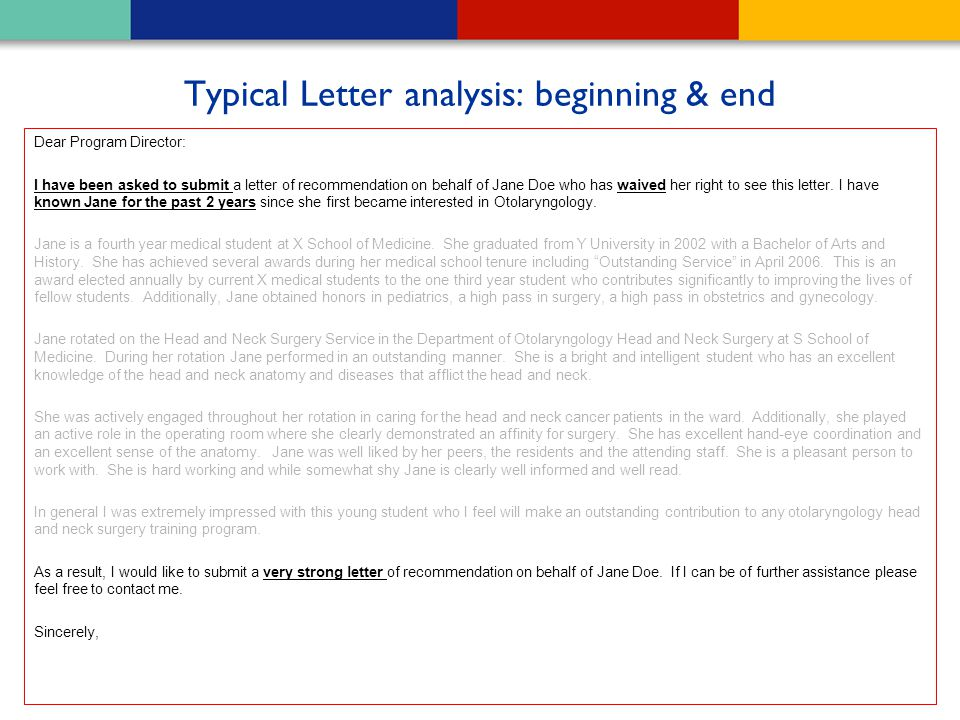 Typical Letter analysis: beginning & end