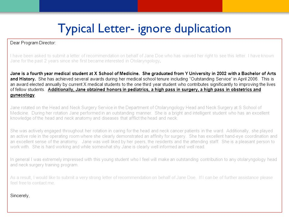 Typical Letter- ignore duplication