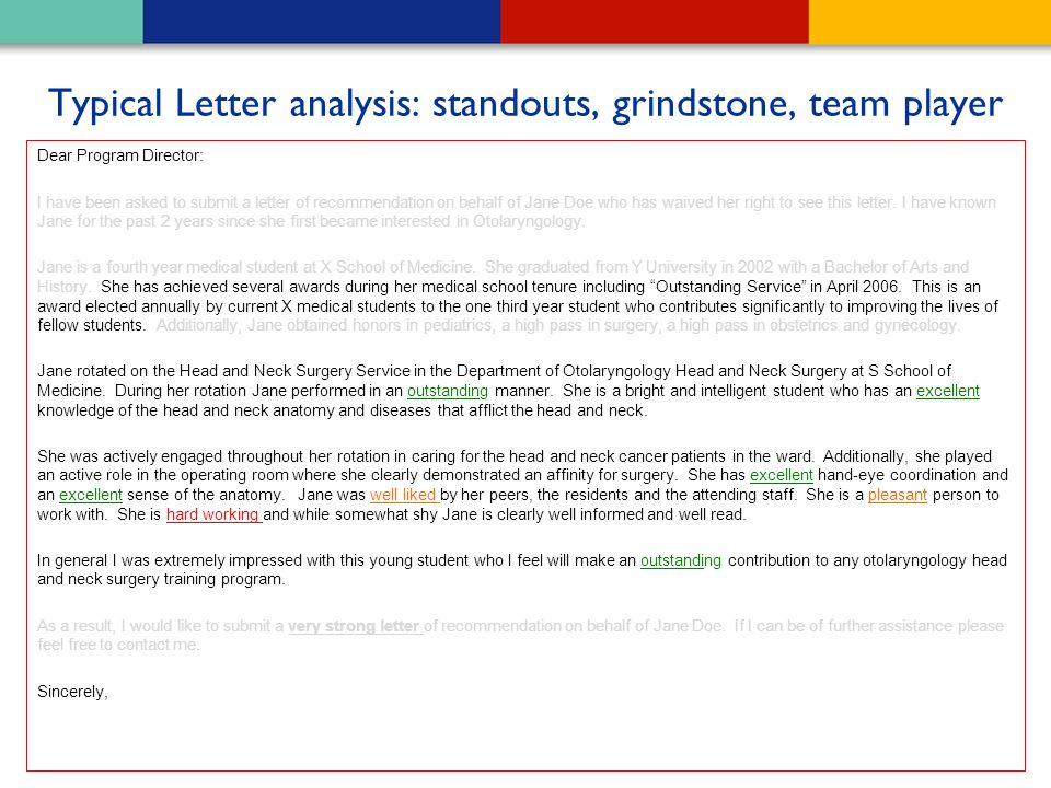 Typical Letter analysis: standouts, grindstone, team player
