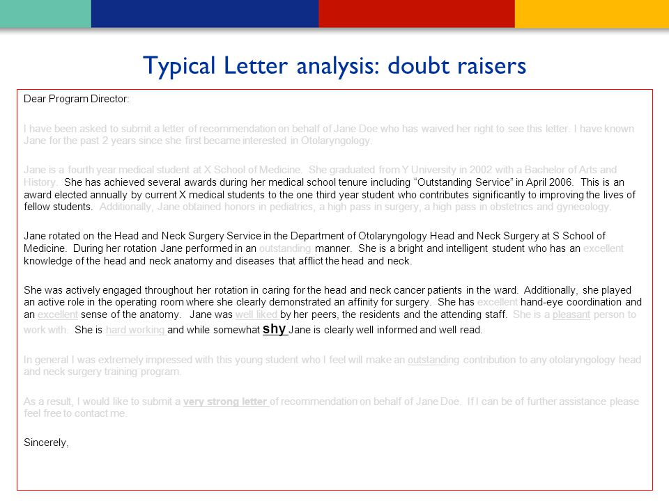 Typical Letter analysis: doubt raisers