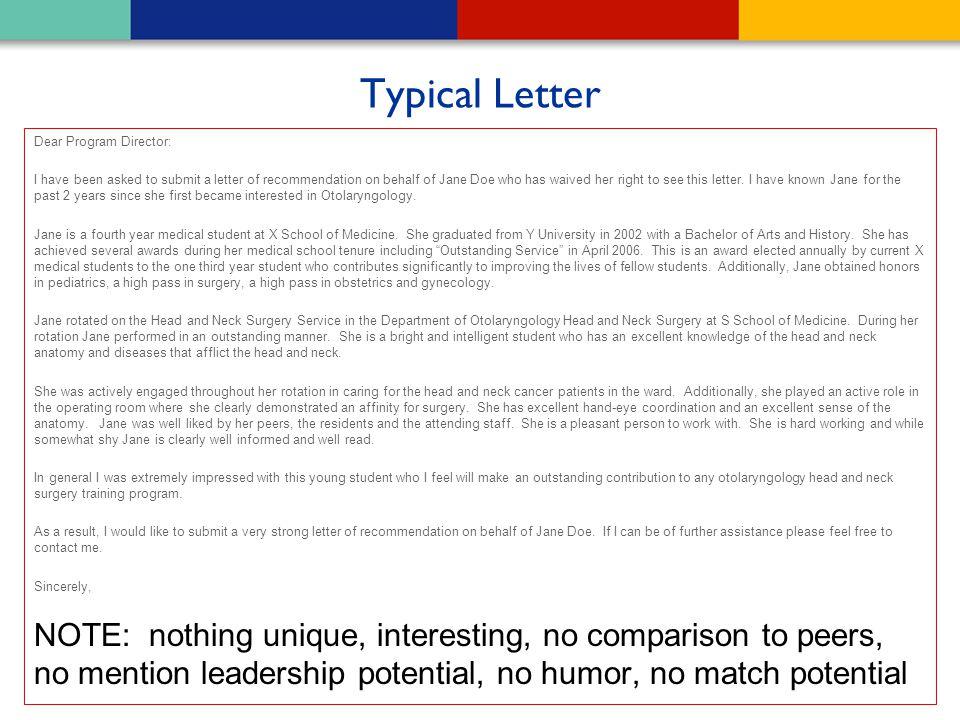 Typical Letter Dear Program Director: