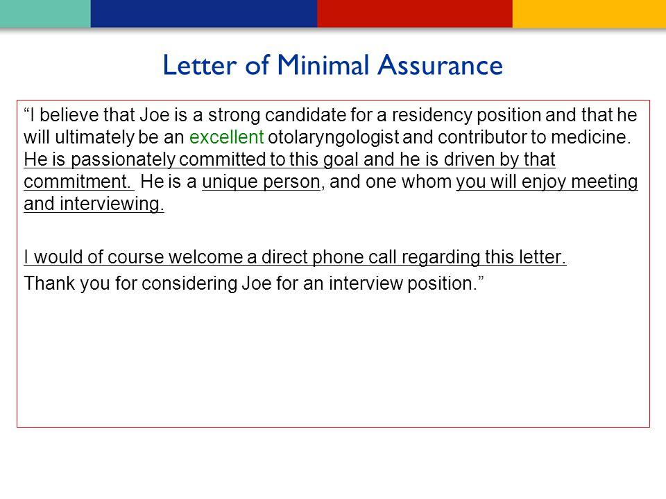 Letter of Minimal Assurance