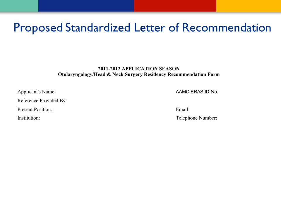 Proposed Standardized Letter of Recommendation