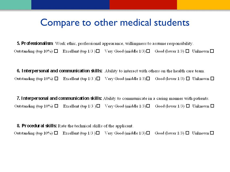 Compare to other medical students