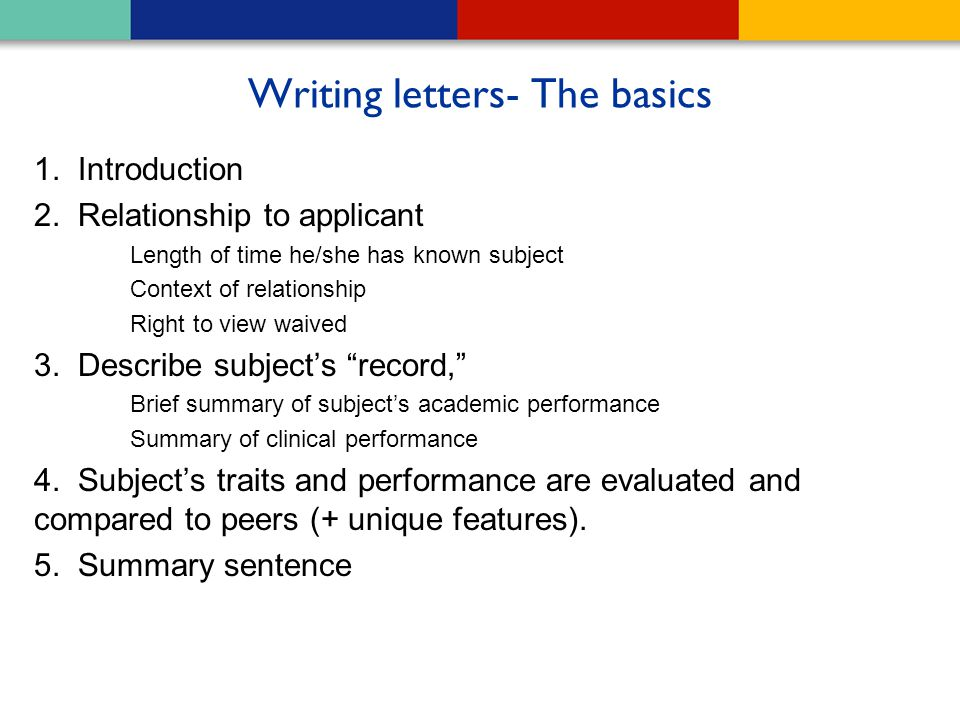 Writing letters- The basics