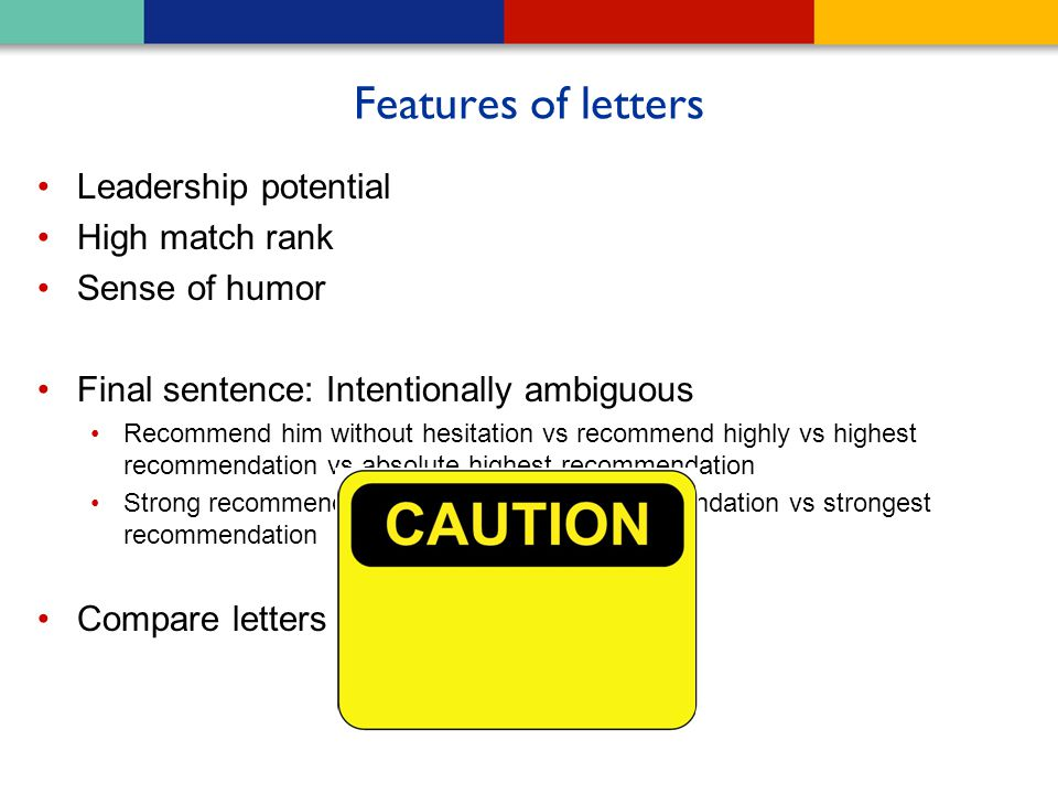 Features of letters Leadership potential High match rank