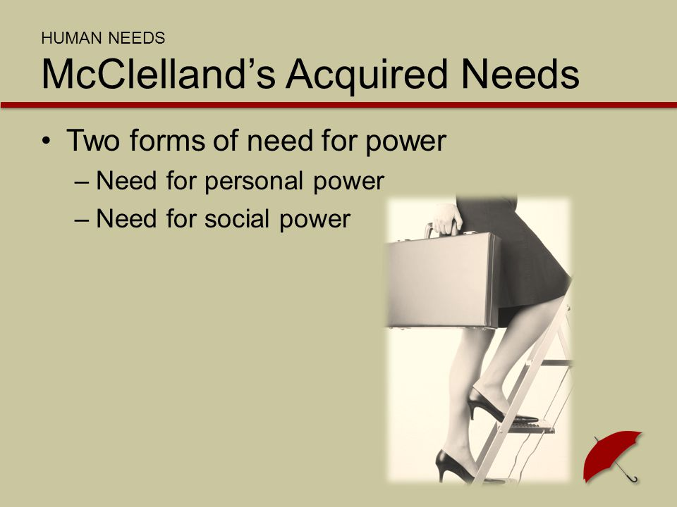 HUMAN NEEDS McClelland's Acquired Needs
