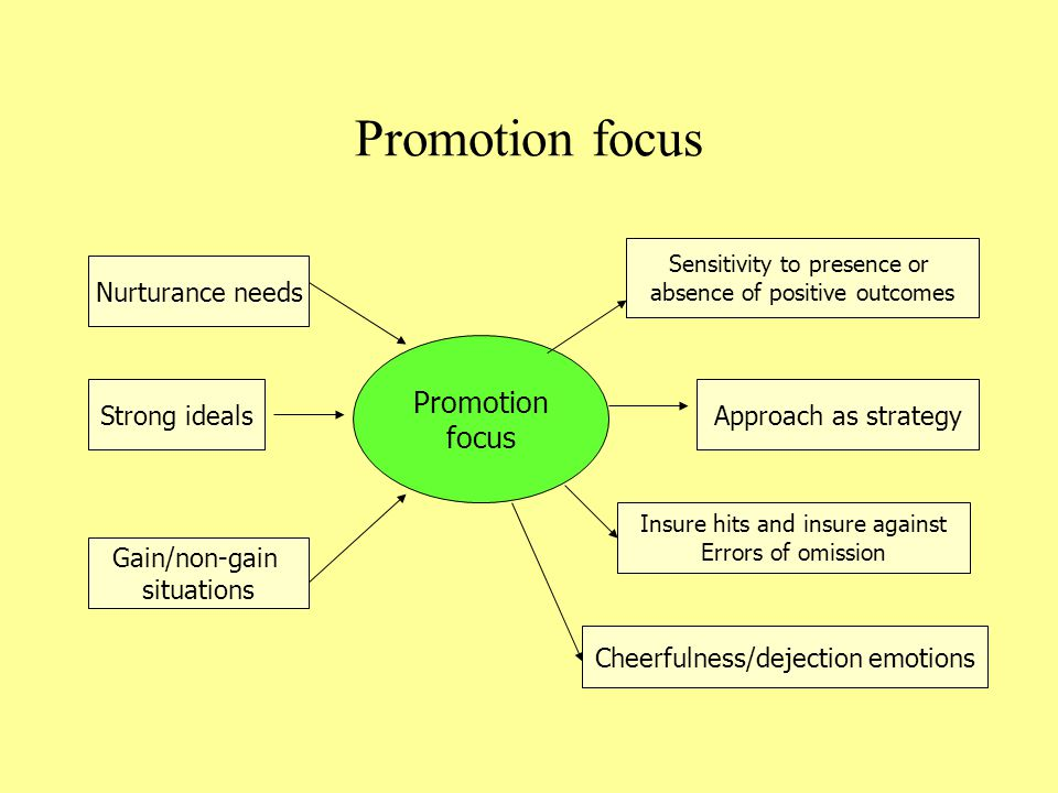 Promotion focus Promotion focus Nurturance needs Strong ideals