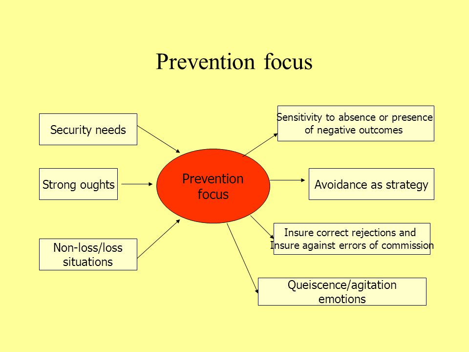 Prevention focus Prevention focus Security needs Strong oughts