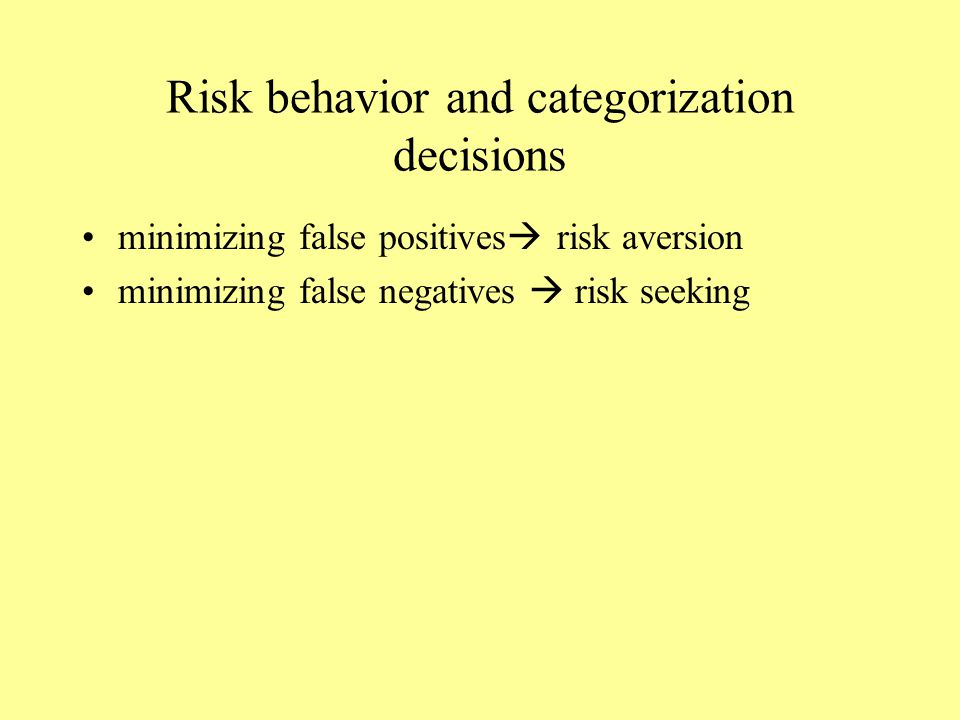 Risk behavior and categorization decisions