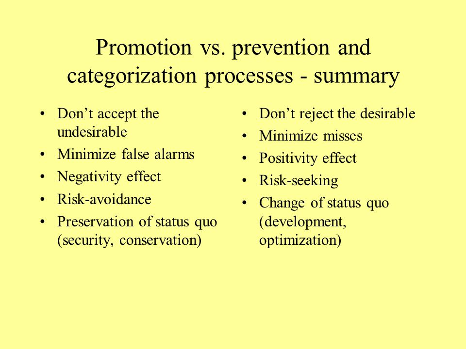 Promotion vs. prevention and categorization processes - summary