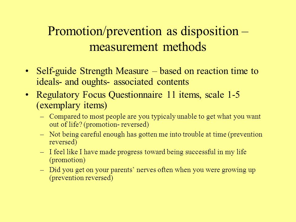 Promotion/prevention as disposition – measurement methods