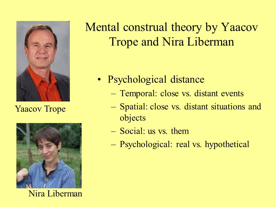 Mental construal theory by Yaacov Trope and Nira Liberman