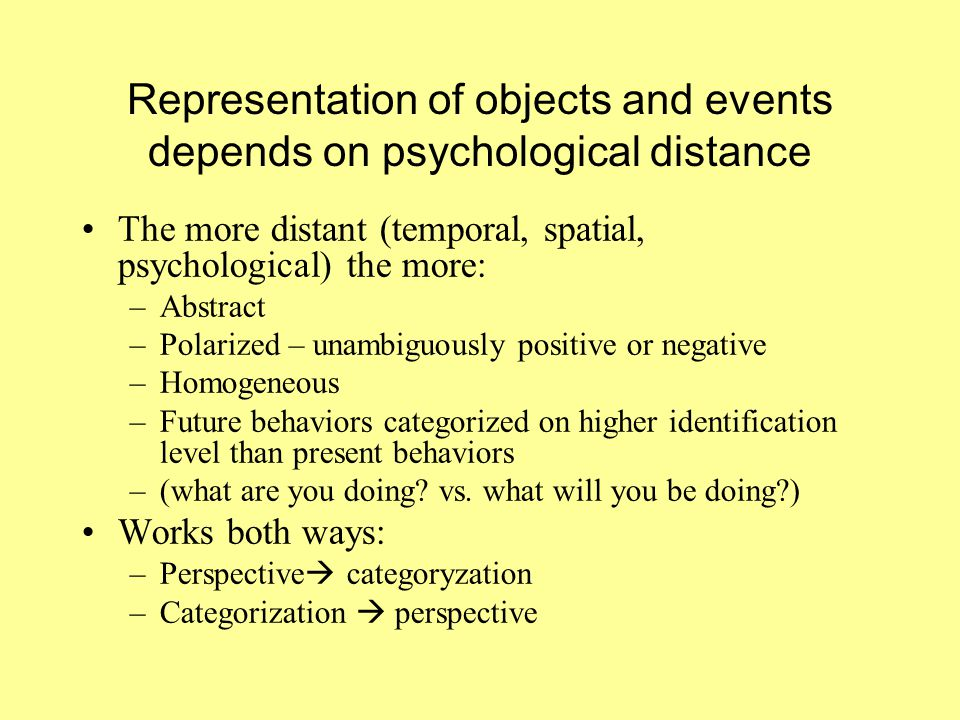 Representation of objects and events depends on psychological distance