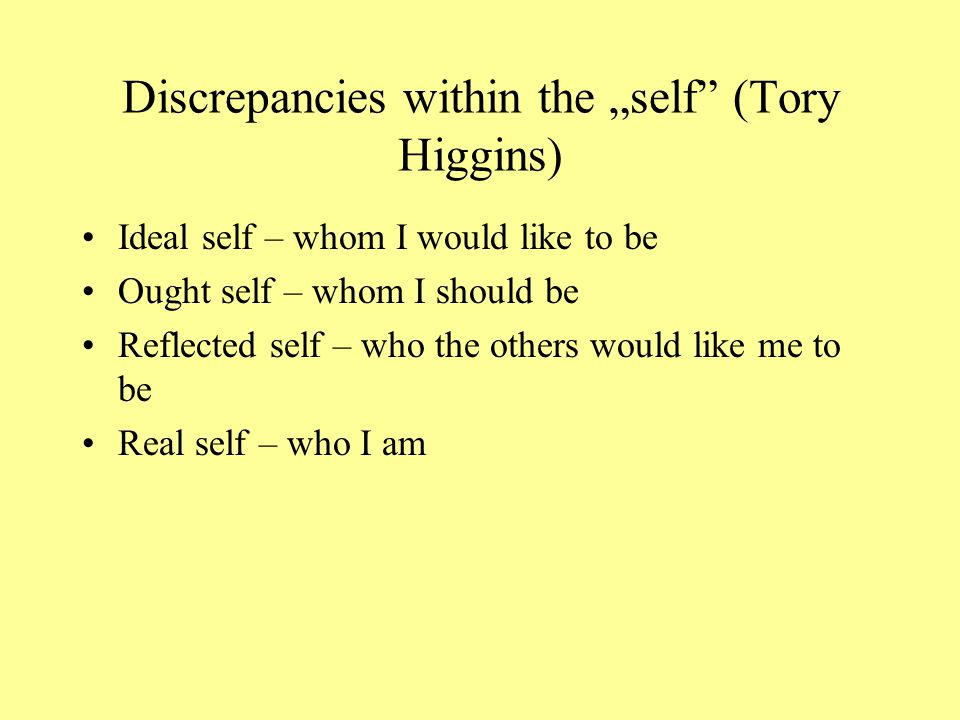 "Discrepancies within the ""self (Tory Higgins)"