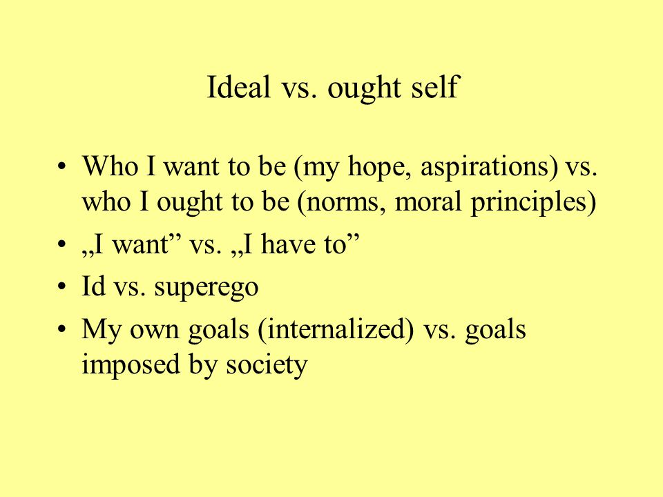 Ideal vs. ought self Who I want to be (my hope, aspirations) vs. who I ought to be (norms, moral principles)