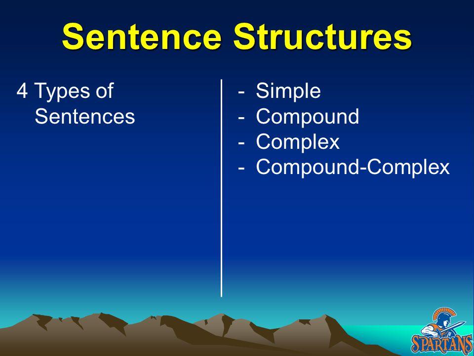 Sentence Structures 4 Types of Sentences Simple Compound Complex