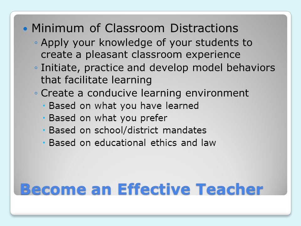 Become an Effective Teacher