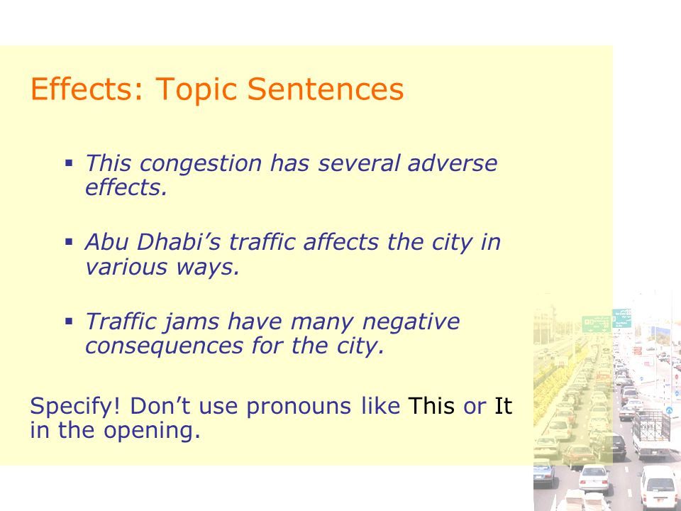 Effects: Topic Sentences