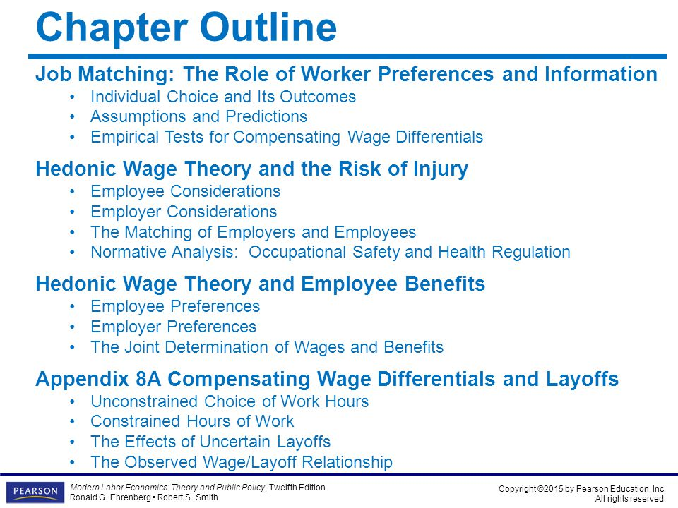 Chapter Outline Job Matching: The Role of Worker Preferences and Information. Individual Choice and Its Outcomes.