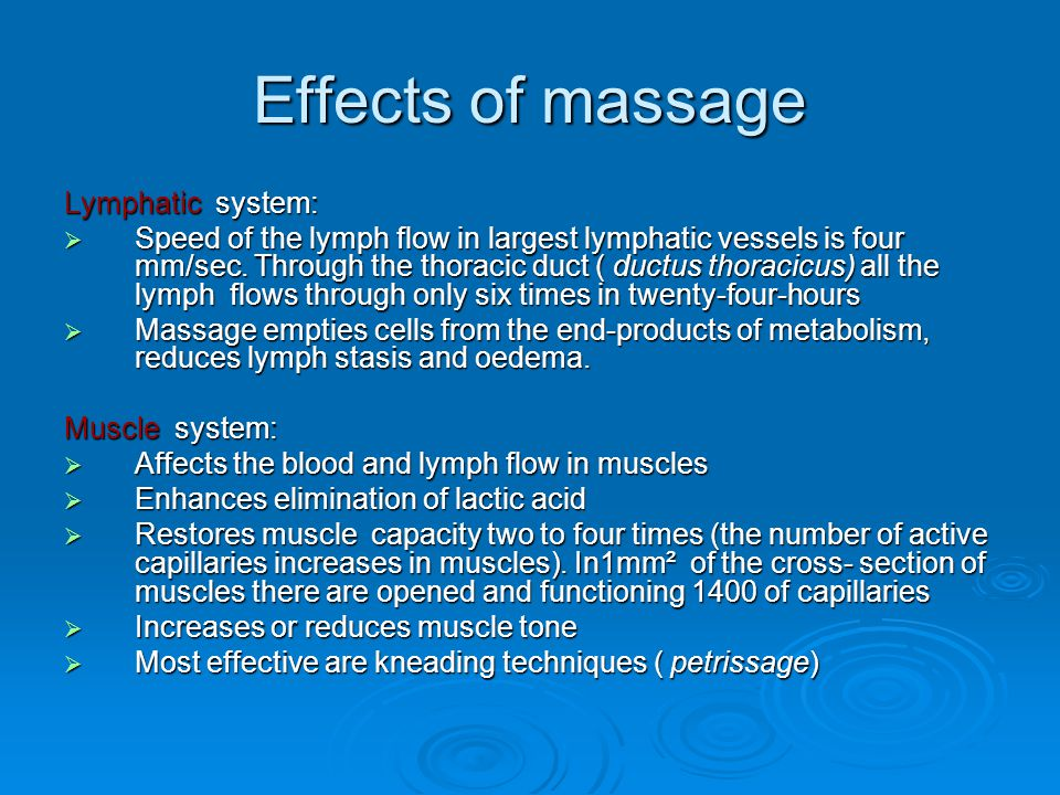 Effects of massage Lymphatic system: