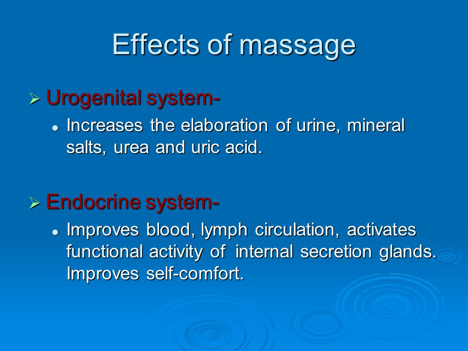 Effects of massage Urogenital system- Endocrine system-