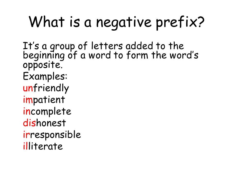 dissertation on negative prefixes in english Browse dissertation abstracts australian english pronunciation a vp-internal/resultative analysis of 4 vp-external uses of slavic verbal prefixes: rok.