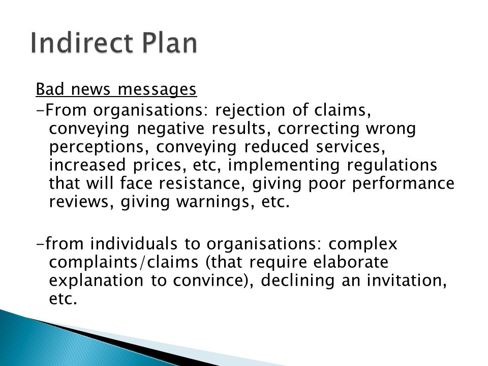 Indirect Plan Bad news messages