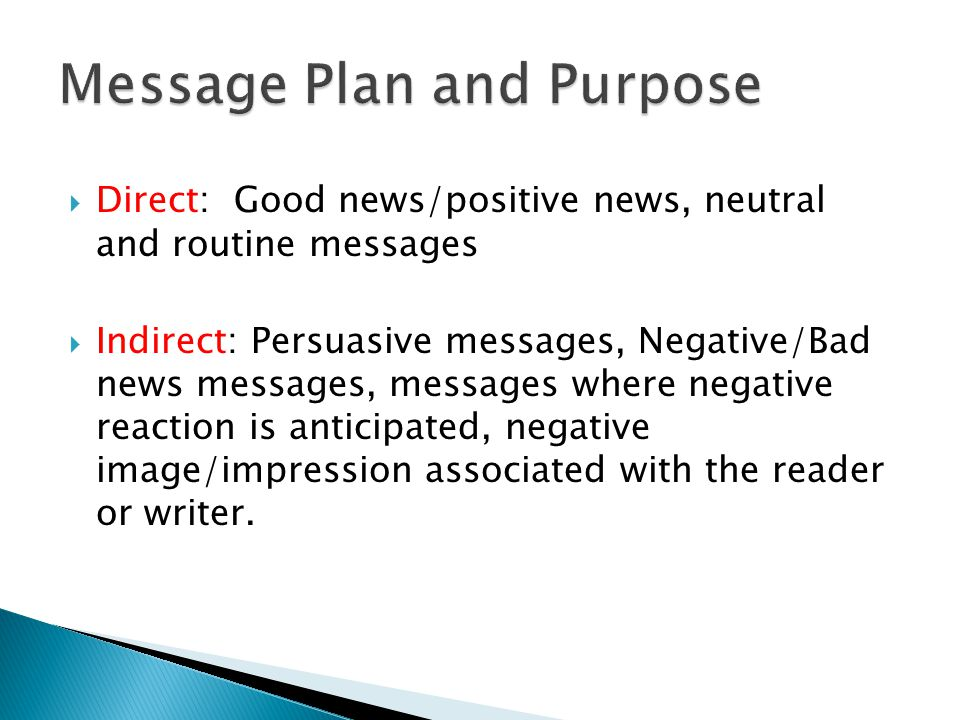 Message Plan and Purpose