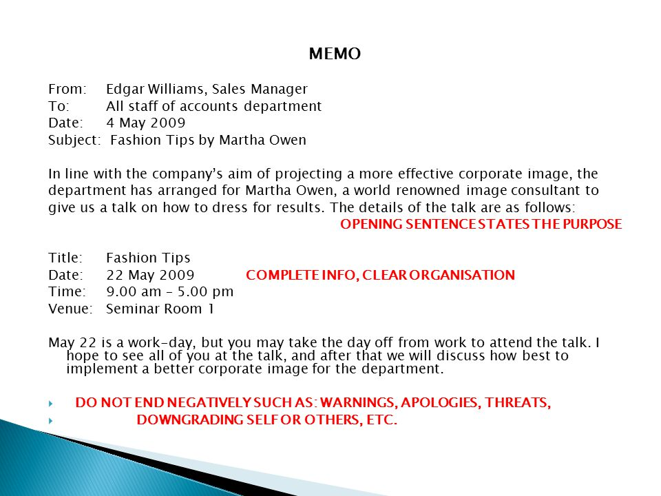 MEMO From: Edgar Williams, Sales Manager
