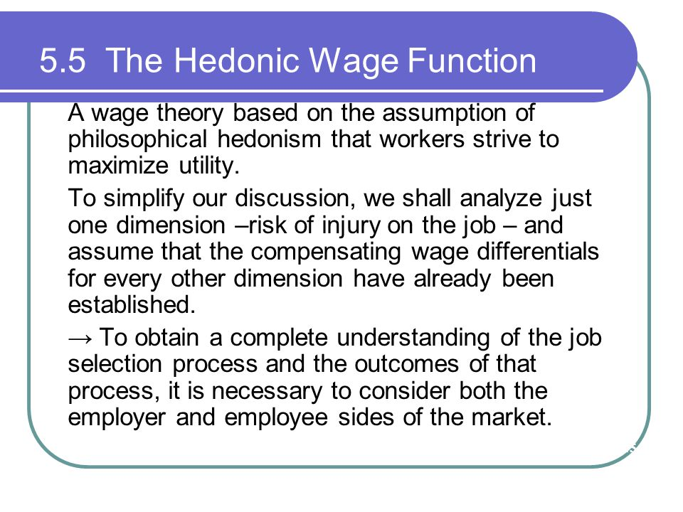 5.5 The Hedonic Wage Function