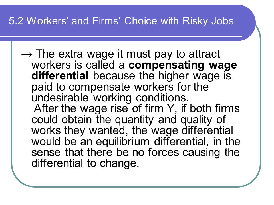 5.2 Workers' and Firms' Choice with Risky Jobs