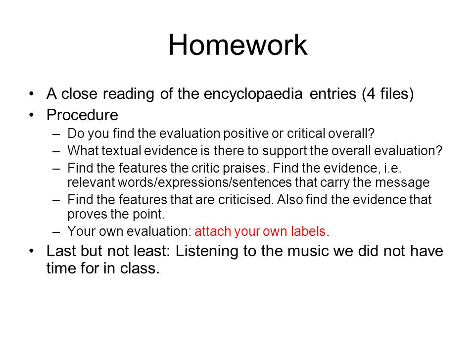 Homework A close reading of the encyclopaedia entries (4 files)
