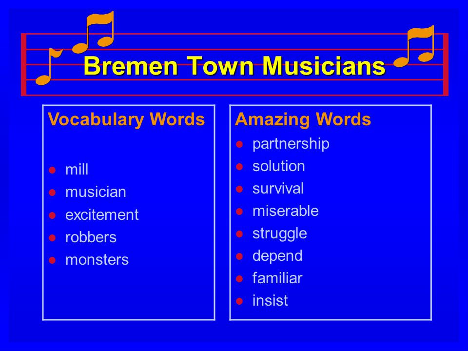 Bremen Town Musicians Vocabulary Words Amazing Words partnership