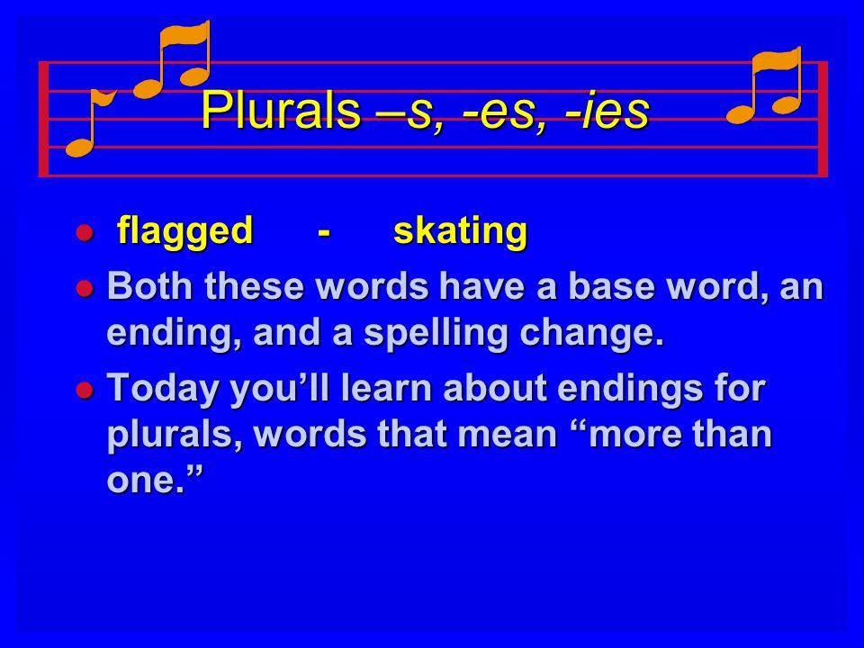 Plurals –s, -es, -ies flagged - skating