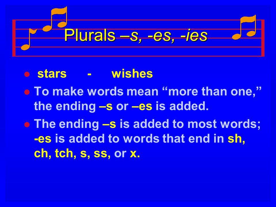 Plurals –s, -es, -ies stars - wishes