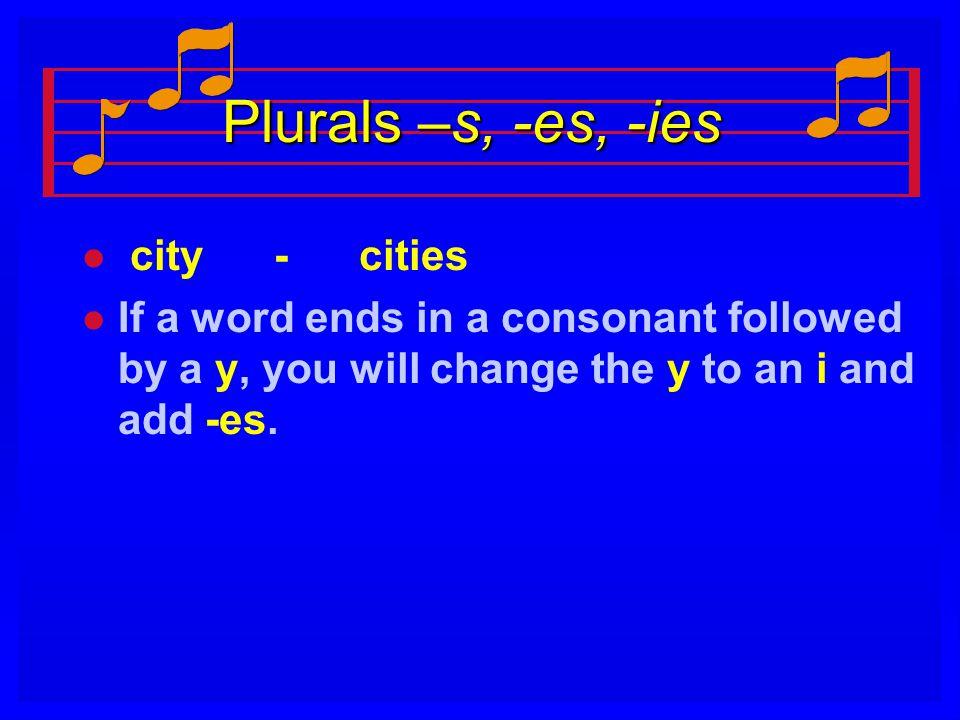 Plurals –s, -es, -ies city - cities