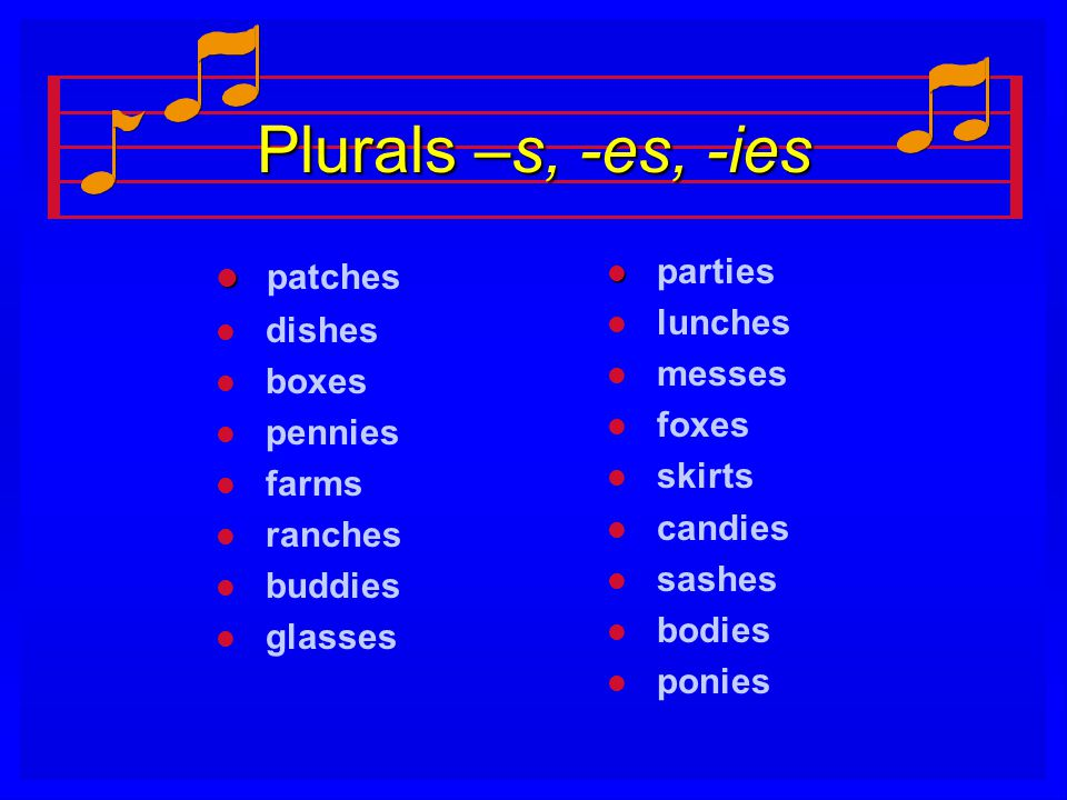 Plurals –s, -es, -ies patches parties dishes lunches messes boxes