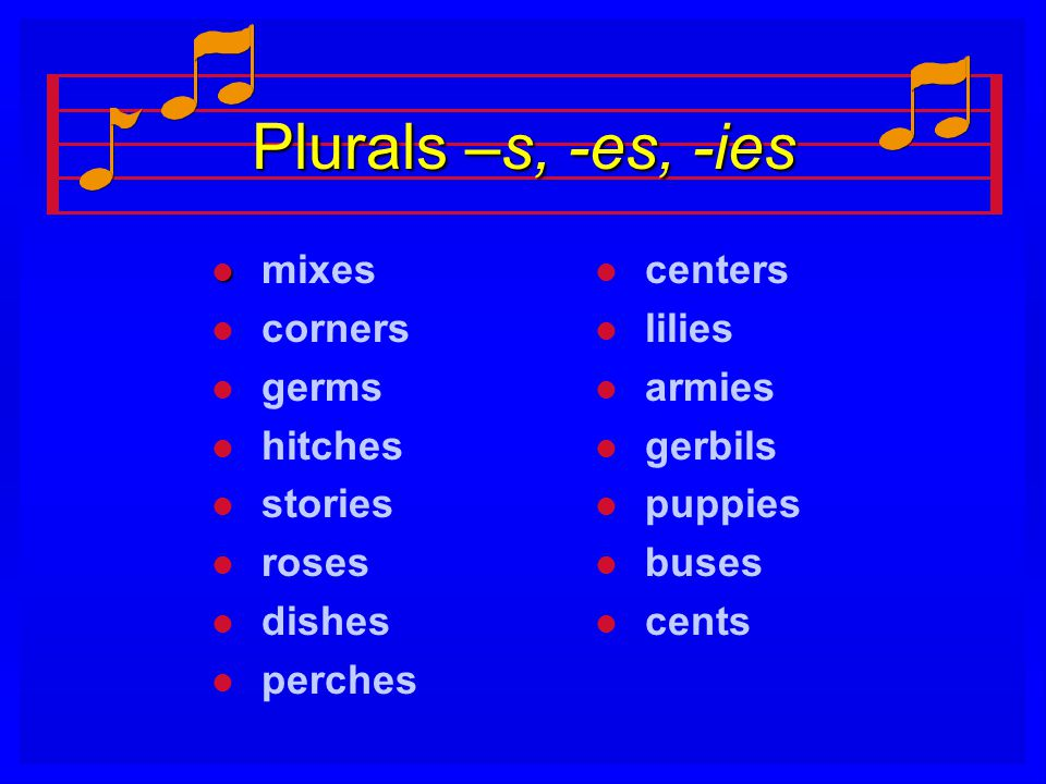 Plurals –s, -es, -ies mixes corners germs hitches stories roses dishes